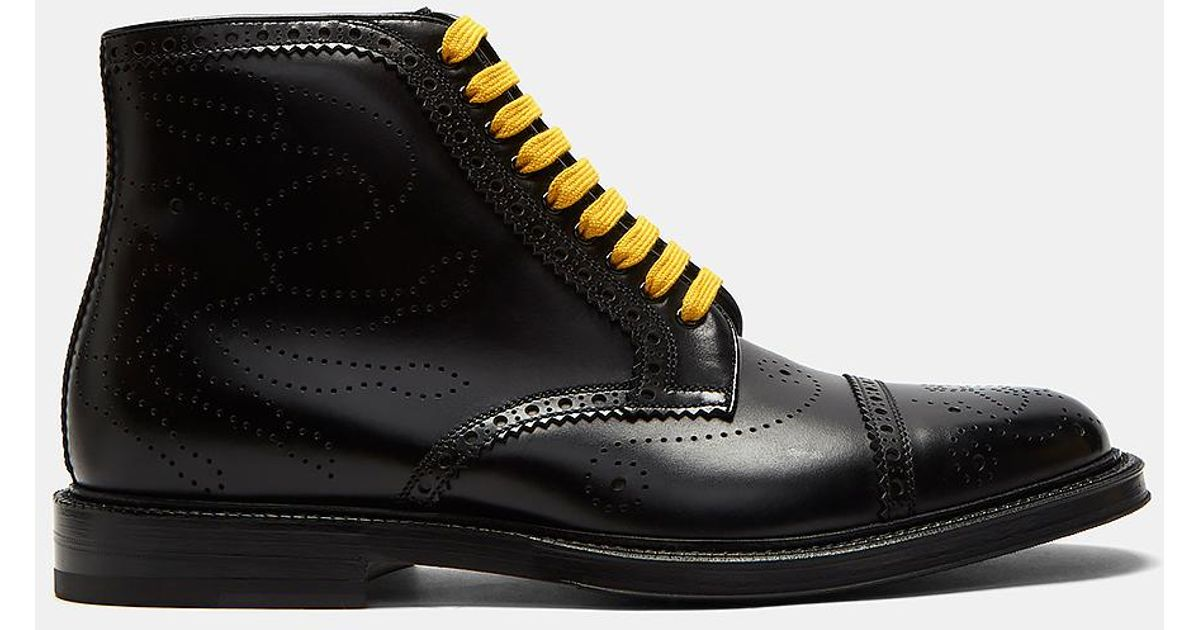 964c86f88b0 Gucci Men's Crab Multicolour Laced Brogue Boots In Black for men