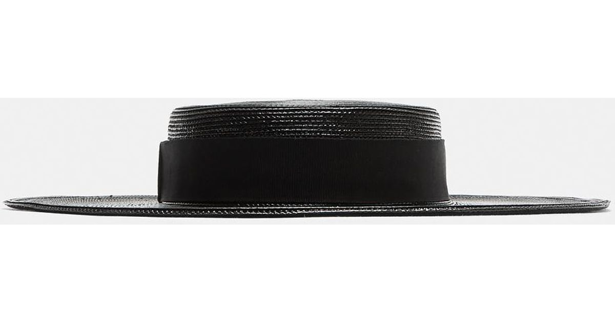 f566fc3d0eb Saint Laurent Braided Straw Boater Hat In Black in Black - Lyst