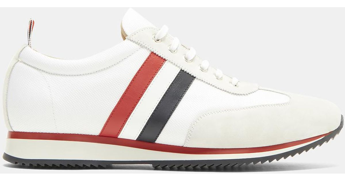 Grey Suede Stripe Sneakers Thom Browne ltLdSdR