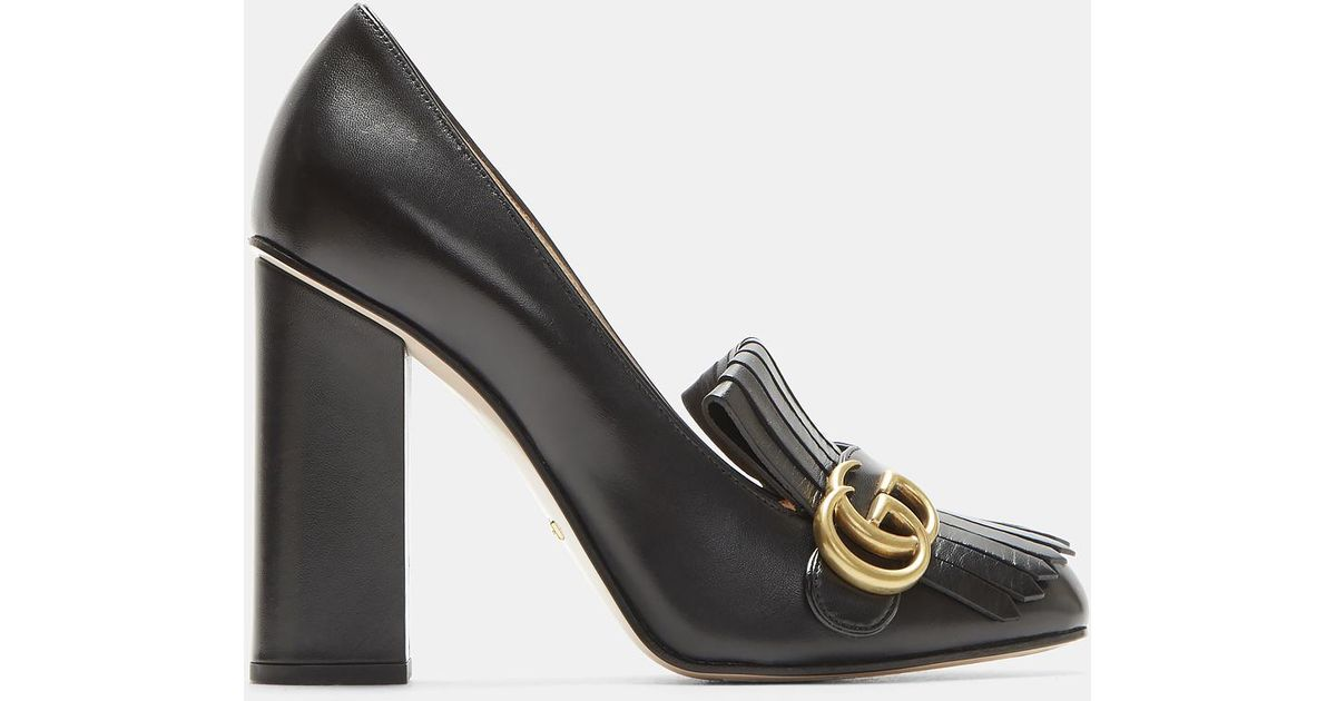 7047165f0807 Lyst - Gucci Gg High-heel Fringed Marmont Pumps In Black in Black