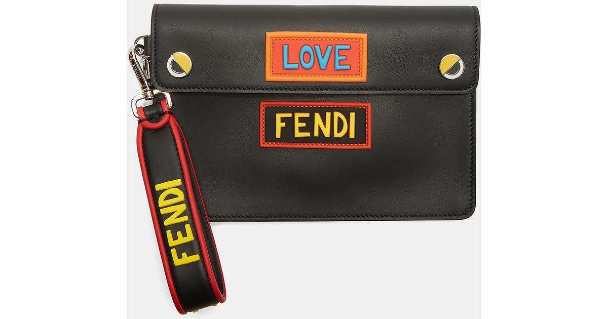 84df879285c4 ... australia lyst fendi love eyes clutch bag in black in black 09d54 b5645