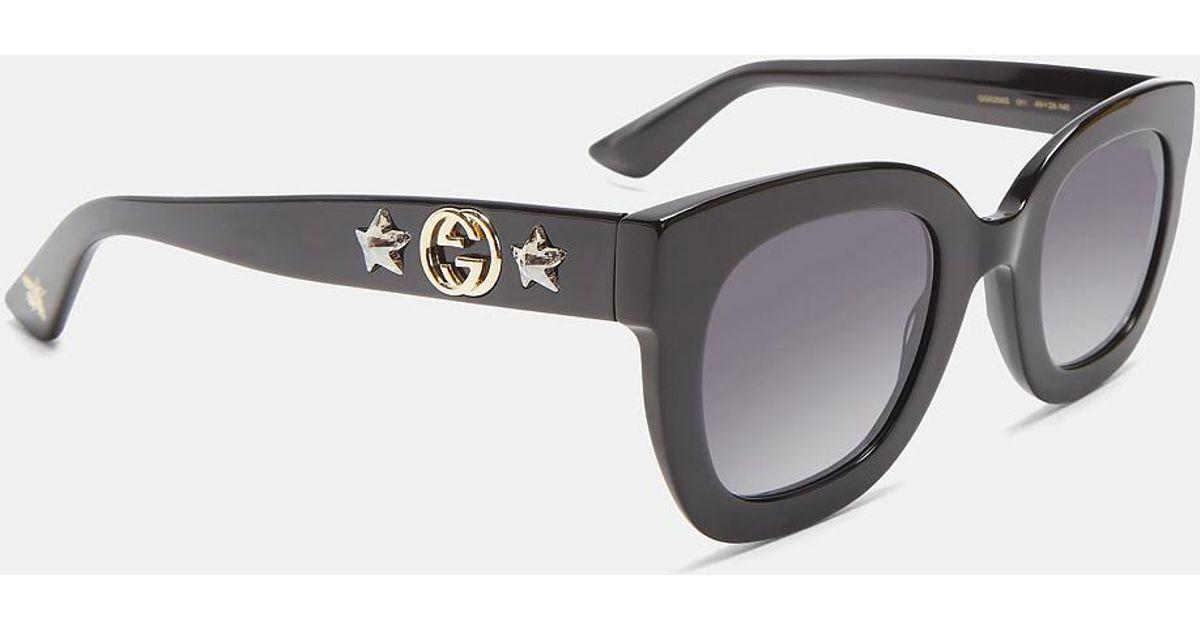 ba2bf39de8 Gucci Round Frame Star Sunglasses In Black in Black - Lyst
