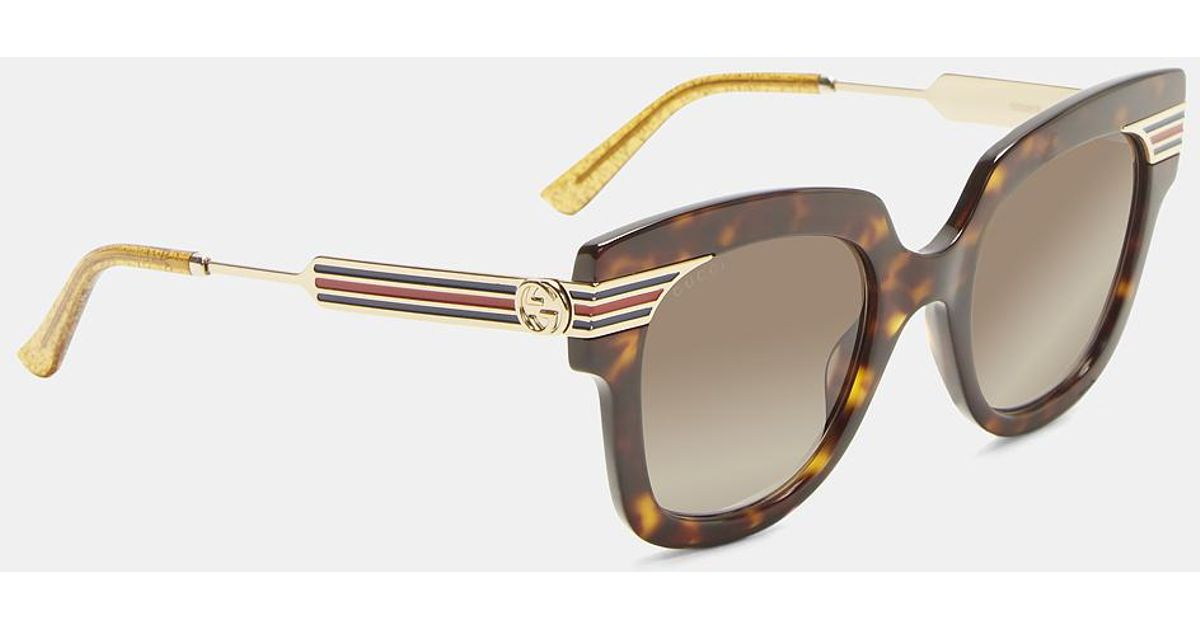 d8ea060f0ac Gucci Square Frame Sylvie Stripe Tortoiseshell Sunglasses In Brown in Brown  - Lyst