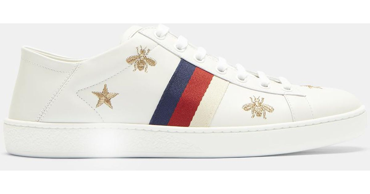 a67ae3385fd Lyst - Gucci Ace Bee And Star Embroidered Sneakers In White in White