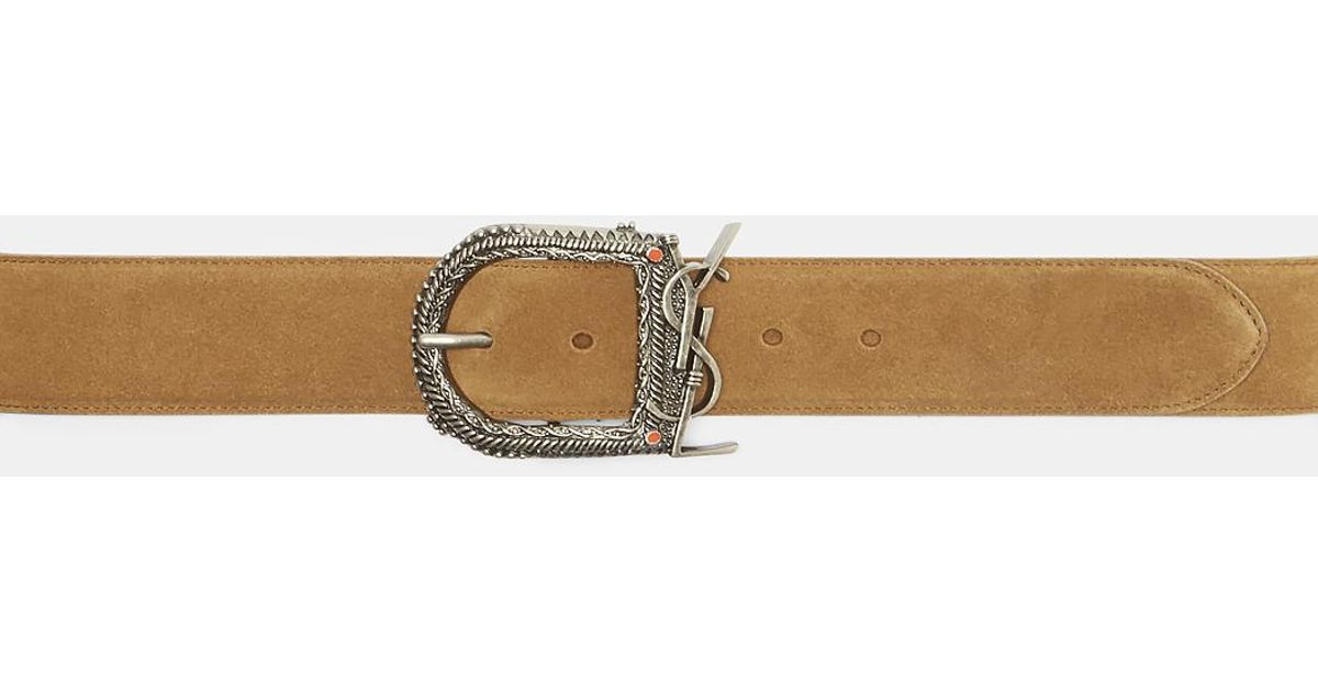 46ba2736c32 Lyst - Saint Laurent Monogram Buckle Suede Belt In Brown in Brown for Men