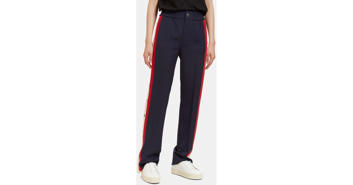6fc12a756f3 Lyst - Gucci Women s Striped Wool Silk Jogging Pant In Navy in Blue