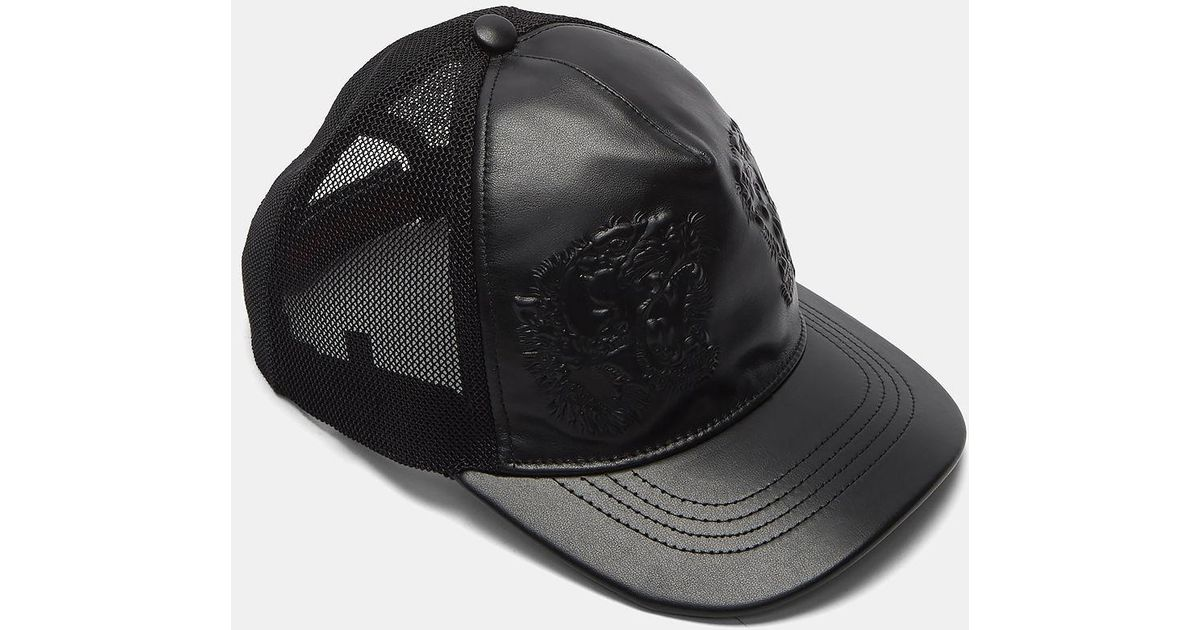 f6465783984 Lyst - Gucci Men s Leather Embossed Tiger Cap In Black in Black for Men