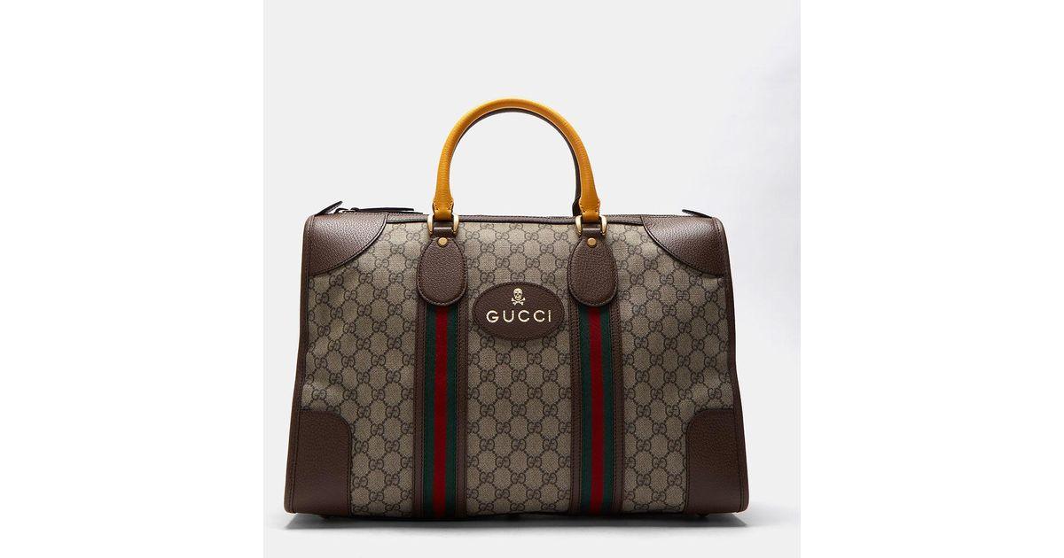 Lyst - Gucci Men s Neo Vintage Gg Supreme Print Webbing Duffle Bag In Brown  in Brown for Men b35ec1f6061ad