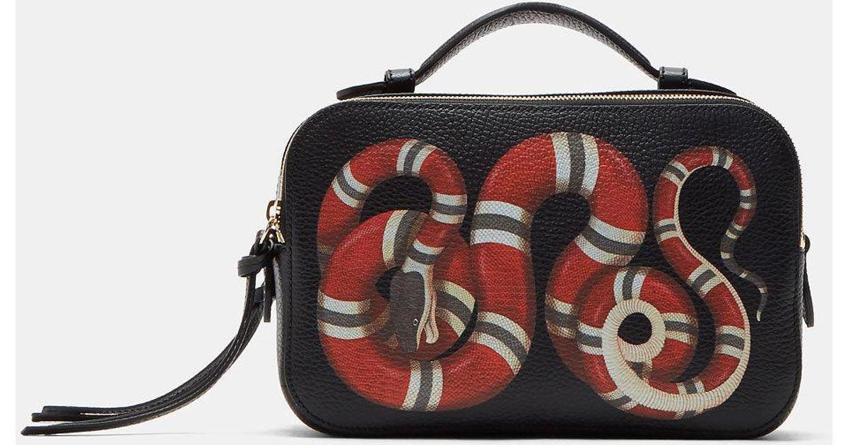 68e0b5f0199 Gucci Women s Merveilles Snake Camera Bag In Black in Black - Lyst
