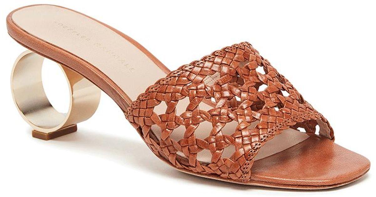 3b5e00afe2c Lyst - Loeffler Randall Brette Woven Sandal With Metal Circle Heel
