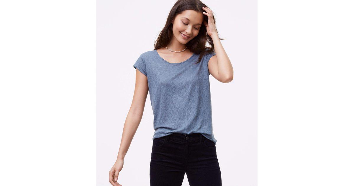 f68811e8b2 Lyst - LOFT Linen Shirttail Tee in Blue