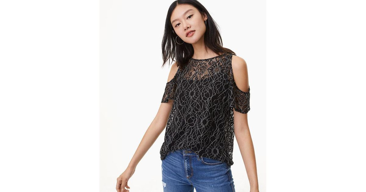 5c4f9bbf5 LOFT Petite Lace Cold Shoulder Top in Black - Lyst