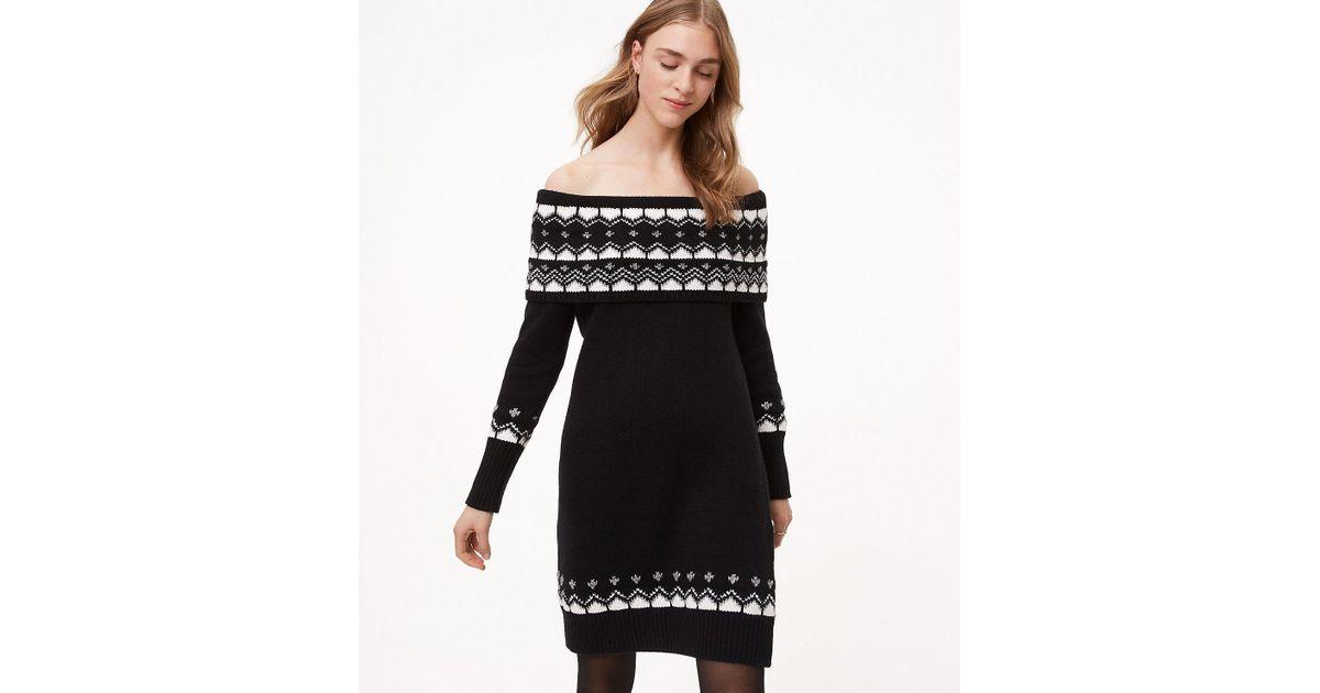 Lyst Loft Fairisle Off The Shoulder Sweater Dress In Black