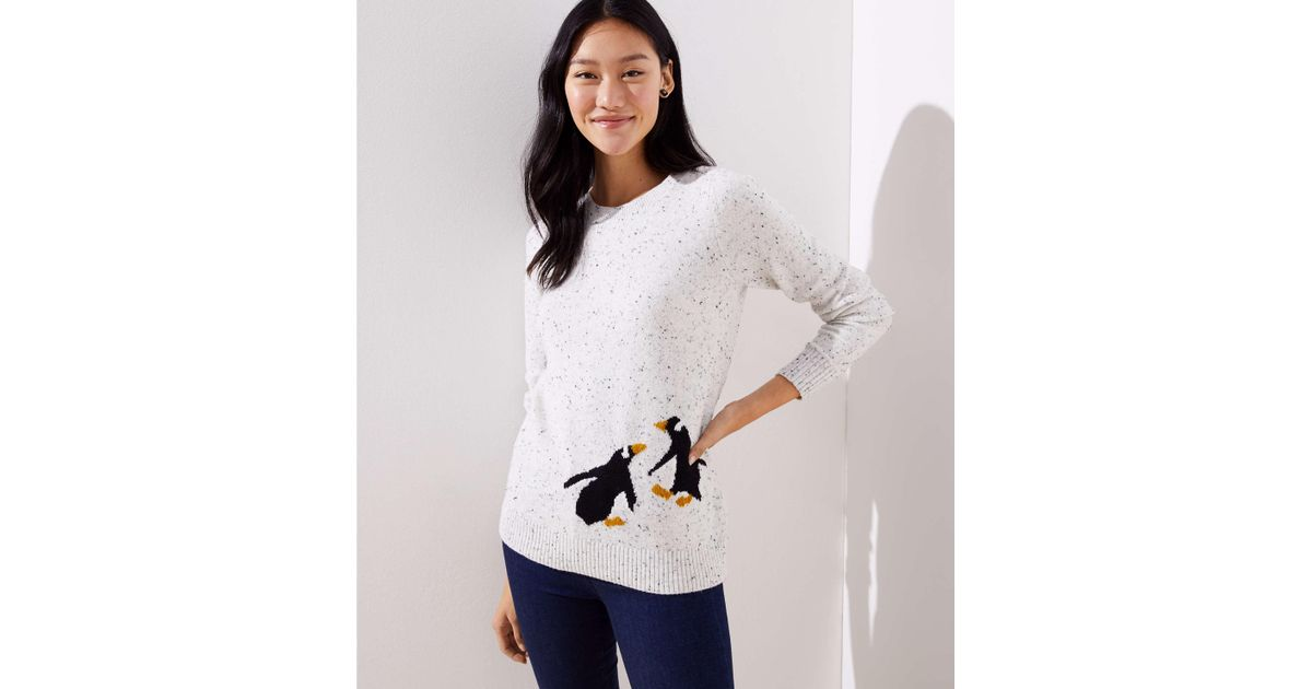 Womens Ladies Xmas Christmas Penguin Sequin New Sable Jumper Sweater