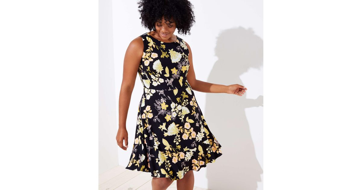 f1b72aaca LOFT Plus Golden Floral Flare Dress in Black - Lyst