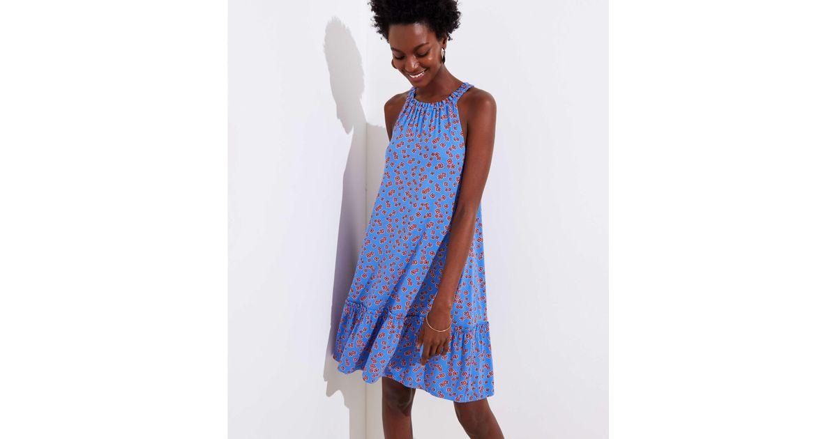 5244b4f48e3af Lyst - LOFT Tall Mini Floral Ruffle Halter Swing Dress in Blue