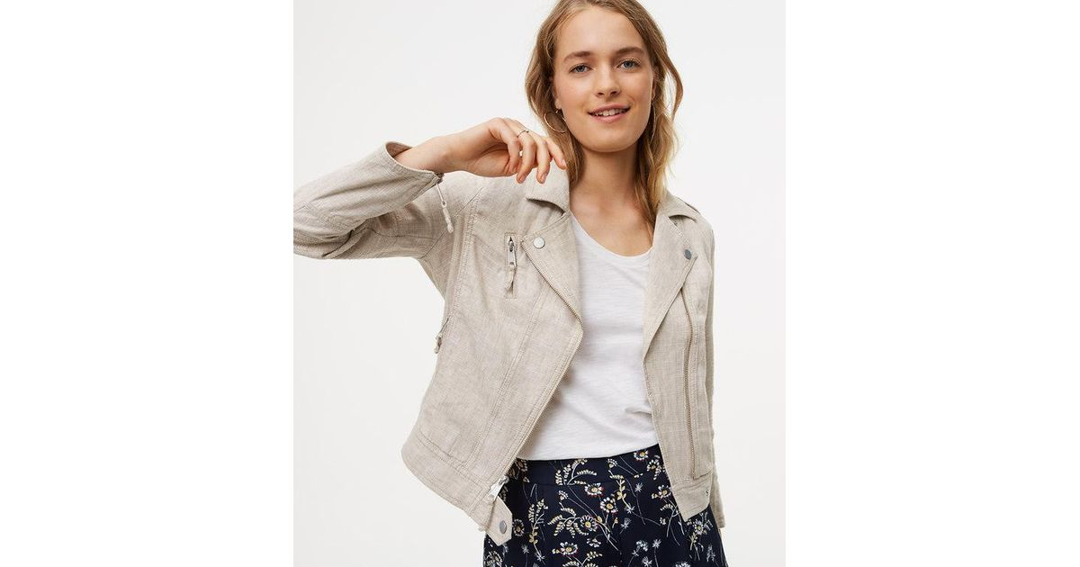 Loft Linen Cotton Motorcycle Jacket in Natural  ce4c0ab13