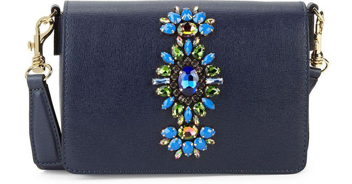0e0541cad Gianni Chiarini Reginella Embellished Leather Crossbody in Blue - Lyst