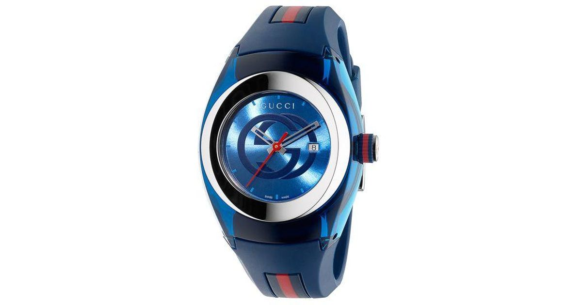 d33692beab4 Gucci Sync Unisex Swiss Blue And Red Rubber Strap Watch 36mm Ya137304 in  Blue - Lyst