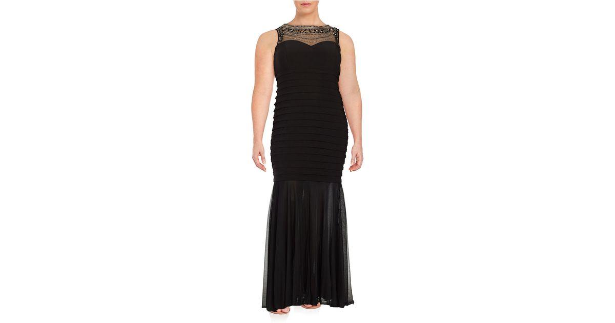 xscape plus beaded illusion mermaid gown in black lyst