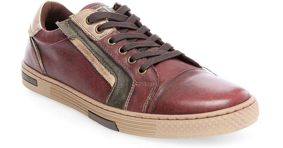 36e4fbe2583 Steve Madden Brown Adison Leather Fashion Sneakers for men