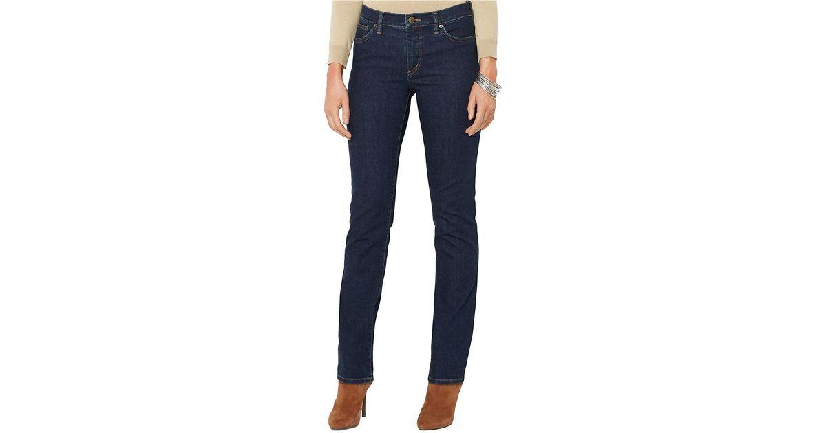 e29f605200bdd Lyst - Lauren By Ralph Lauren Super Stretch Slimming Classic Straight Jean  in Blue