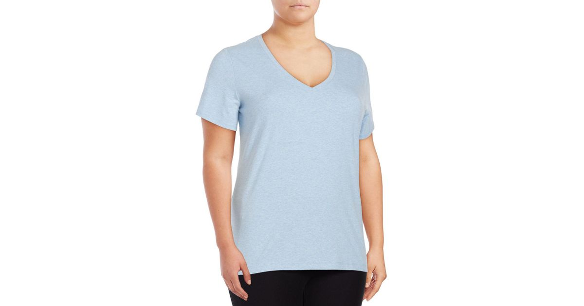 c5269b5fe462b Lyst - Lord   Taylor Solid V-neck T-shirt in Blue