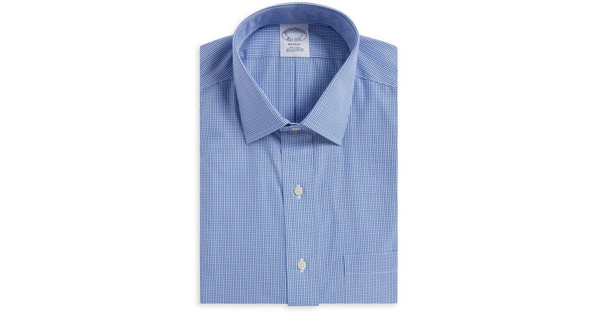 73ff1e3312b Lyst - Brooks Brothers Mini-gingham Regent Fit Dress Shirt in Blue for Men