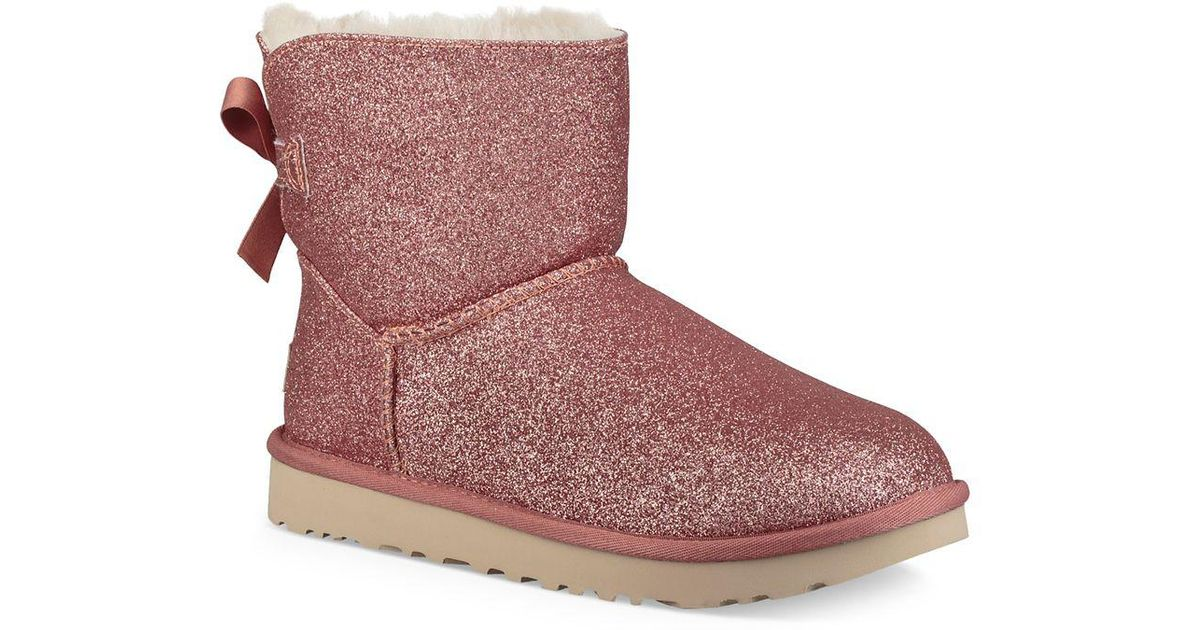 27d84e02e65 Ugg Pink Mini Bailey Bow Sparkle Shearling Boots