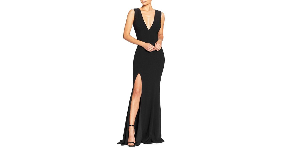 Lyst Dress The Population Sandra Slit Evening Gown In Black