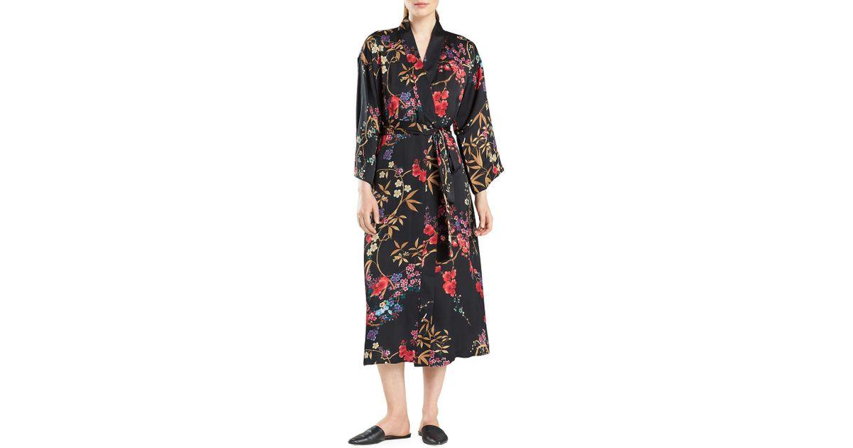 N Natori - Black Floral-print Silky Satin Wrap Robe - Lyst 77514e1b4