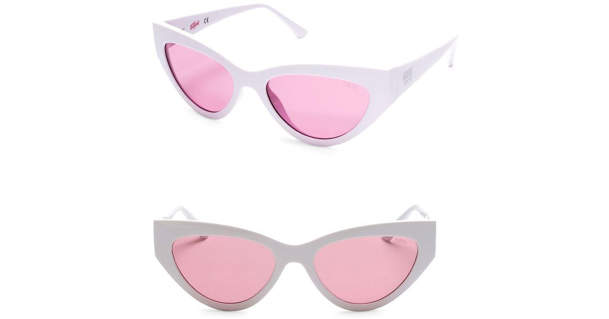 d8de41ae40c6 Guess 55mm Pink Lenses Wraparound Sunglasses in White - Lyst