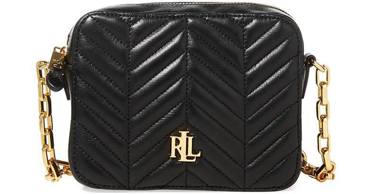 38633af51ab Lyst - Lauren By Ralph Lauren Quilted Leather Crossbody Bag in Black