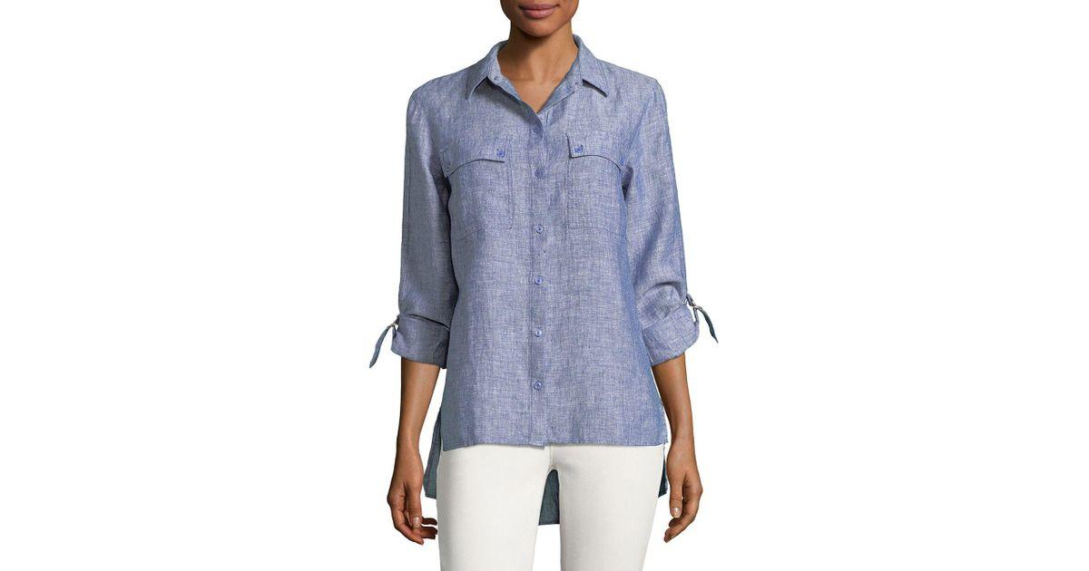2b1674d1b Jones New York Hi-lo Linen Button-down Shirt in Blue - Lyst