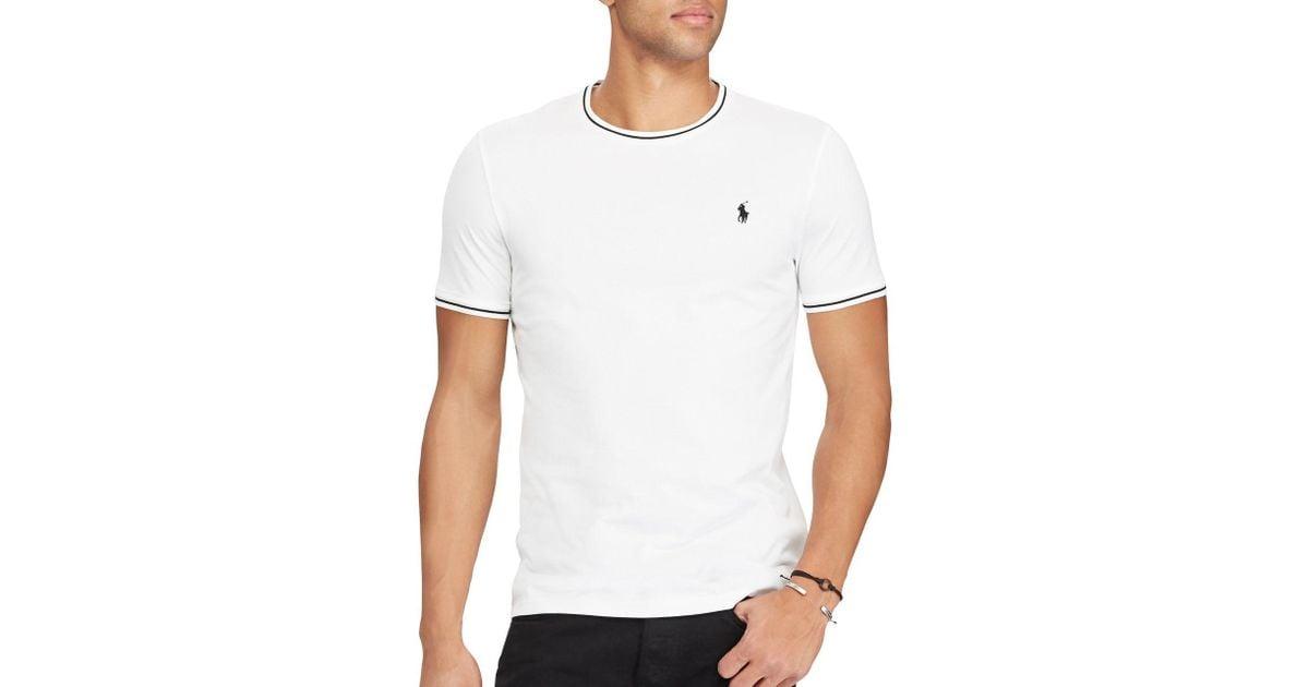 a2cd8fe3c Lyst - Polo Ralph Lauren Custom Slim-fit Cotton Mesh Tee in White for Men