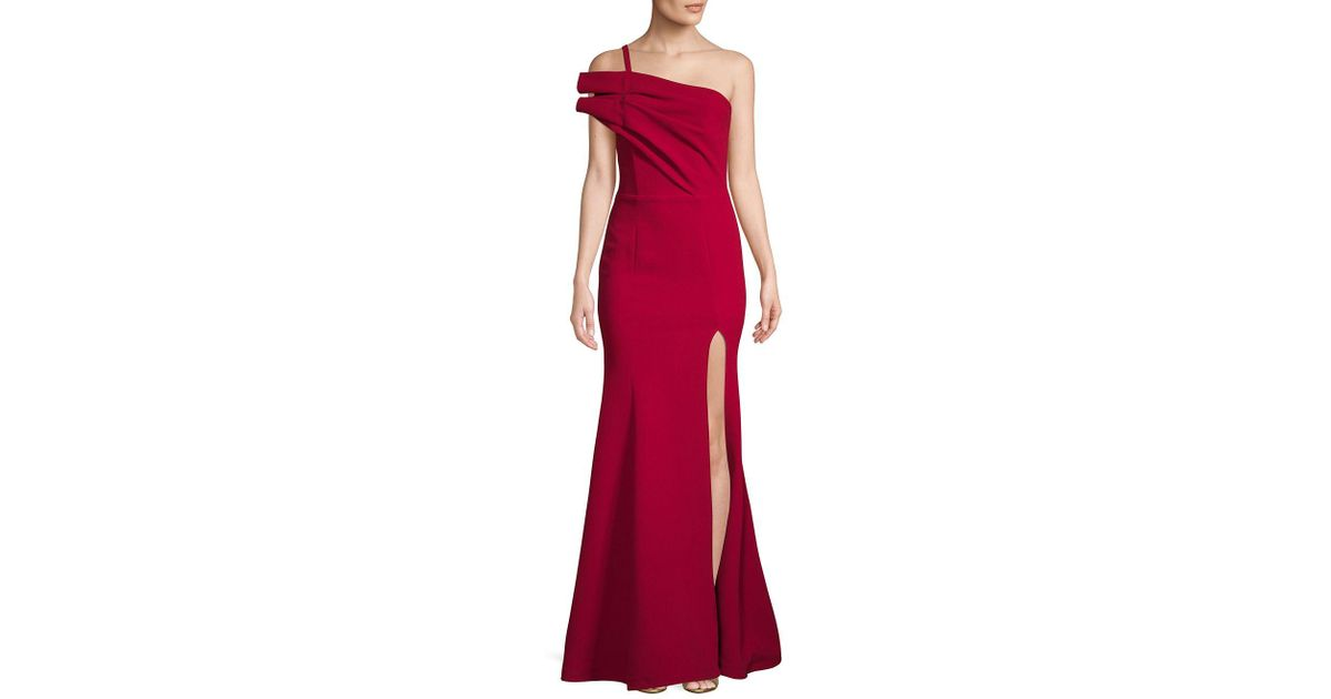 9ee6340917d2 Nicole Bakti One-shoulder Slit Gown in Red - Lyst