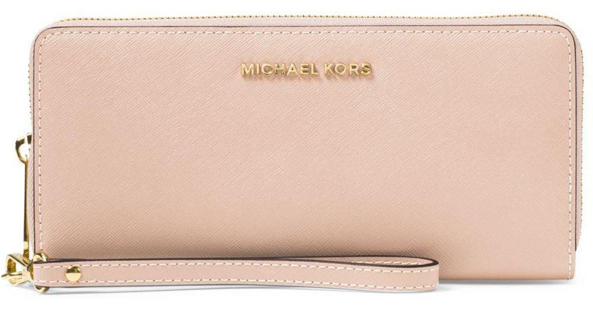 e33c5fe84c60 Lyst Michael Kors Jet Set Travel Leather Continental. Jet Set Travel  Continental Wallet Pale Pink