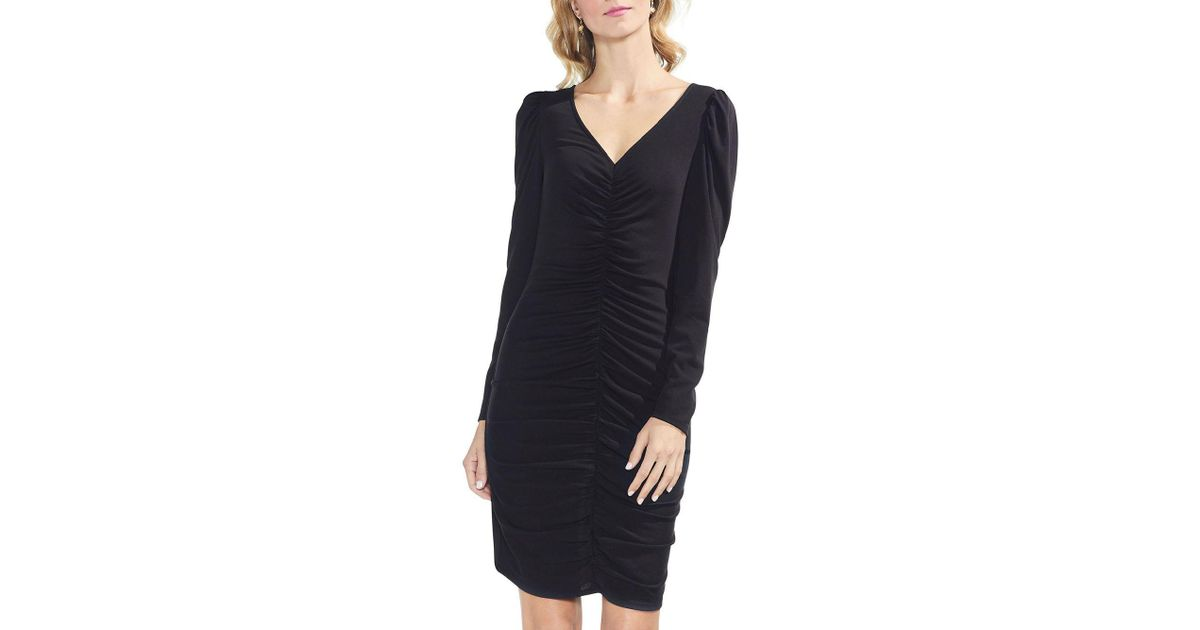 Lyst Vince Camuto Puff Shoulder Shirt Dress In Black