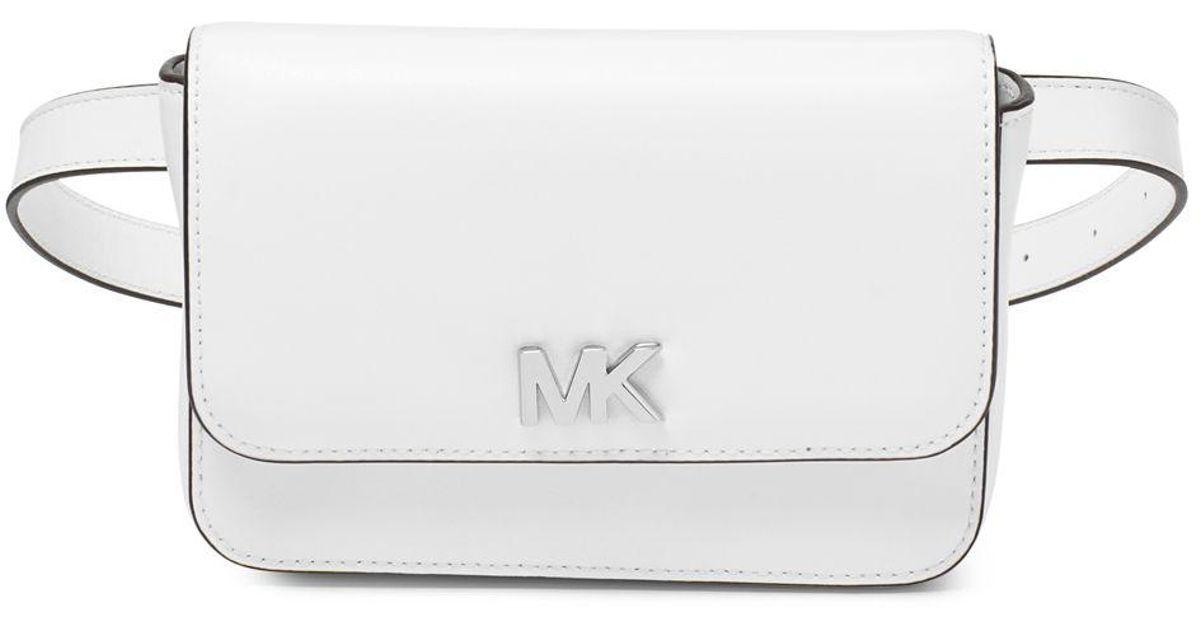 c7328afd1256 Michael Michael Kors Mott Leather Belt Bag in White - Lyst