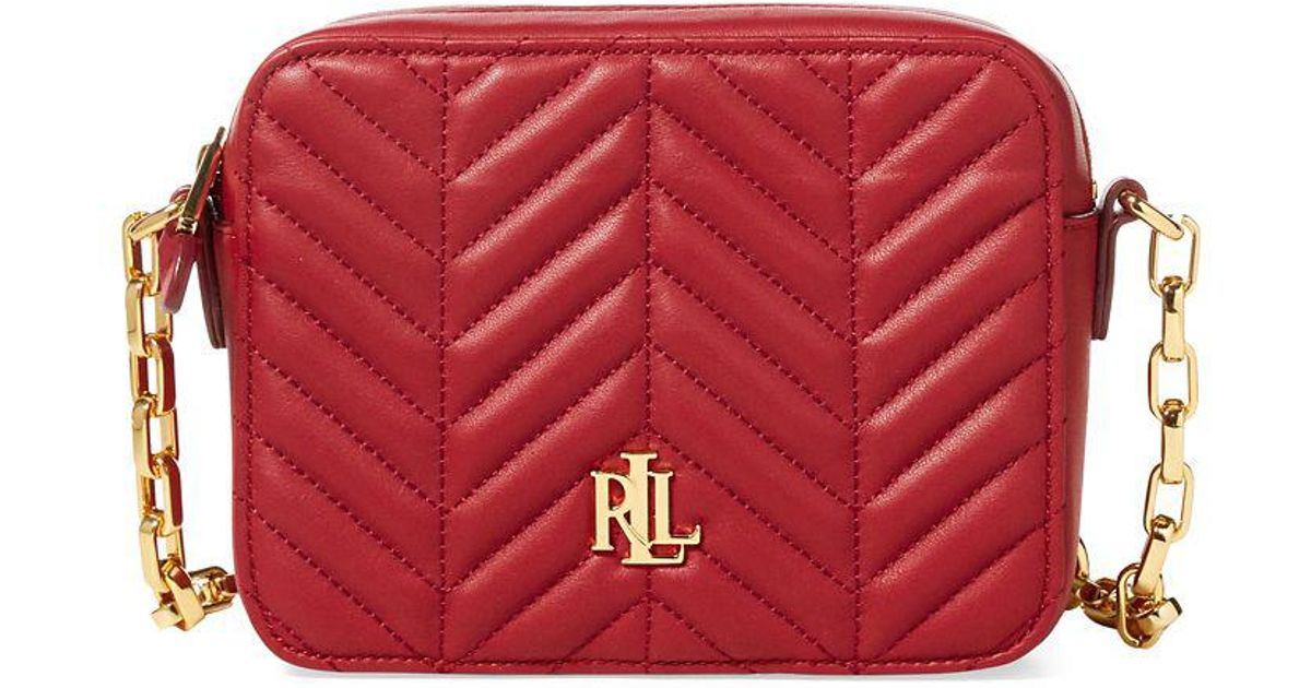 7eb2526e8d0 Lauren By Ralph Lauren Quilted Leather Crossbody Bag in Red - Lyst
