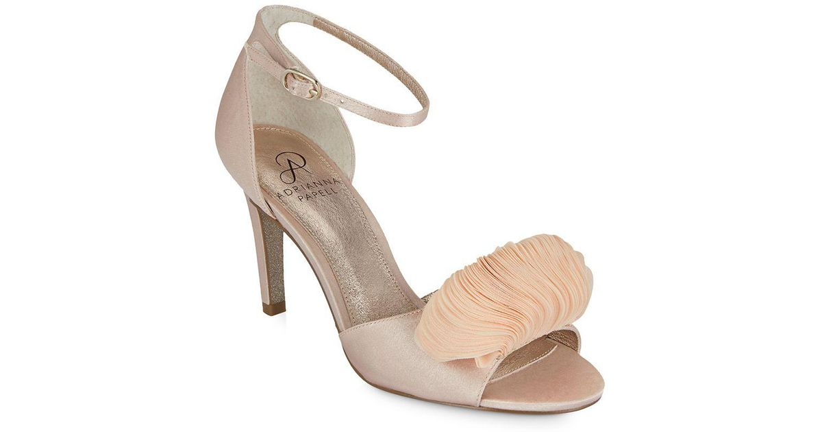 Adrianna Papell Gracie Satin Petal Ornament Ankle Strap Dress Sandals