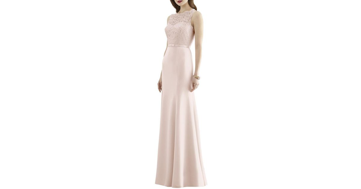 349119954fda Dessy Collection Full Length Sleeveless Marquis Lace And Matte Chiffon Dress  in Pink - Lyst