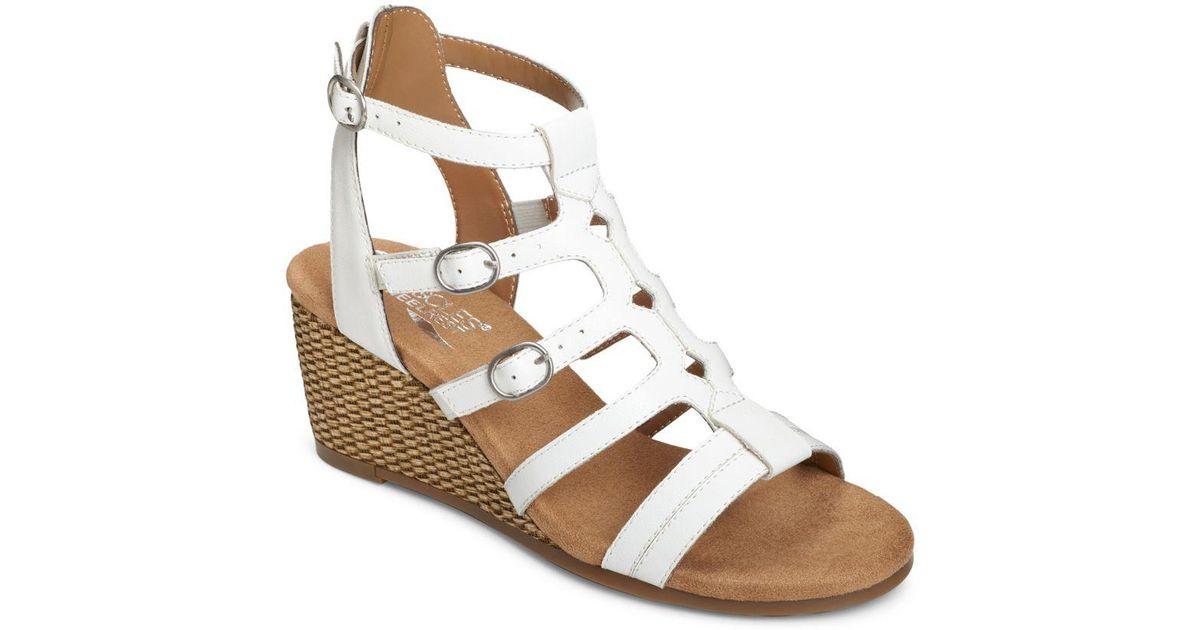 02641f62e1ae Aerosoles Sparkle Strappy Wedge Sandals in White - Lyst