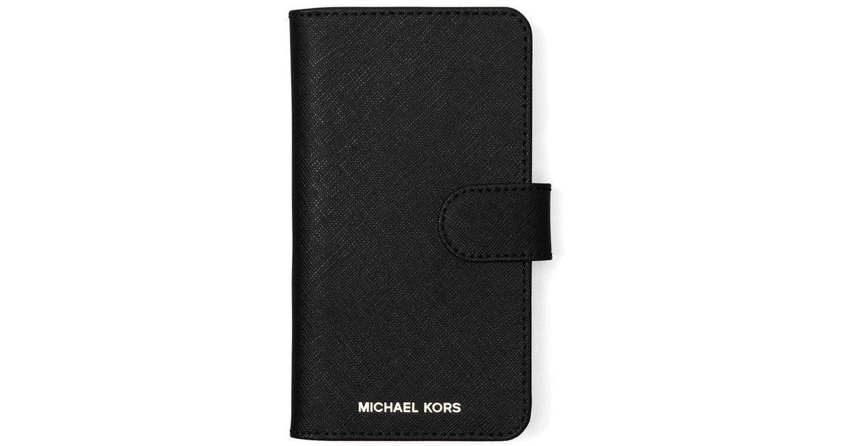 buy popular b12ab 3c9ef MICHAEL Michael Kors - Black Iphone X Leather Folio Case - Lyst