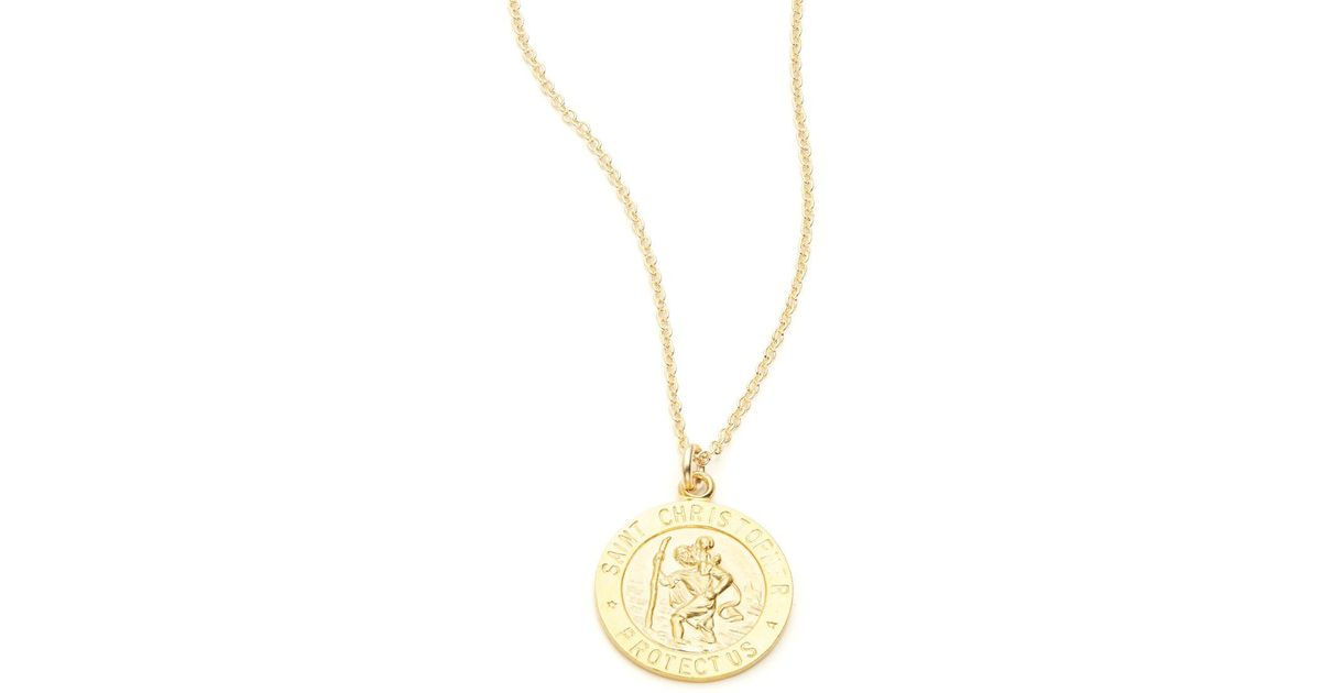 Lyst dogeared faith collection st christopher pendant necklace lyst dogeared faith collection st christopher pendant necklace in metallic aloadofball Gallery