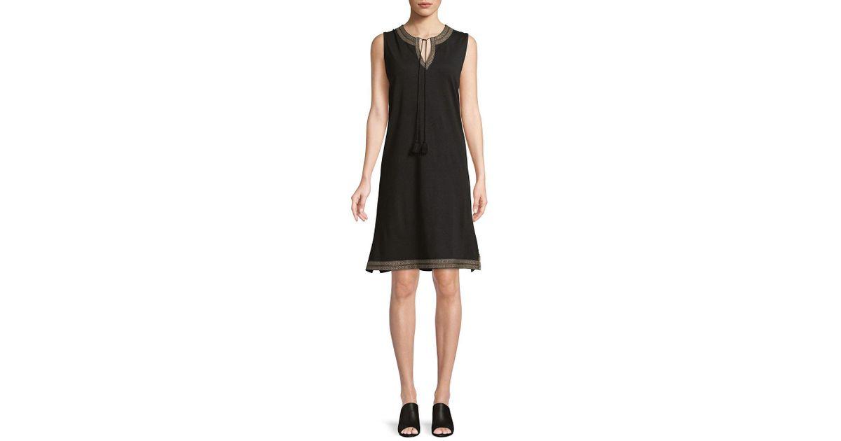 Lyst Lord Taylor Petite Tassel Shift Dress In Black
