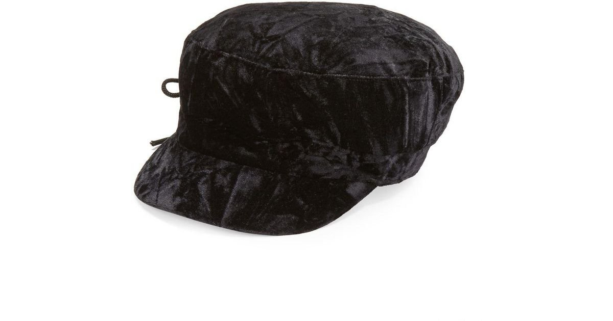 23ec51726fa3d August Accessories Lace Up Crushed Velvet Hat In Black Lyst