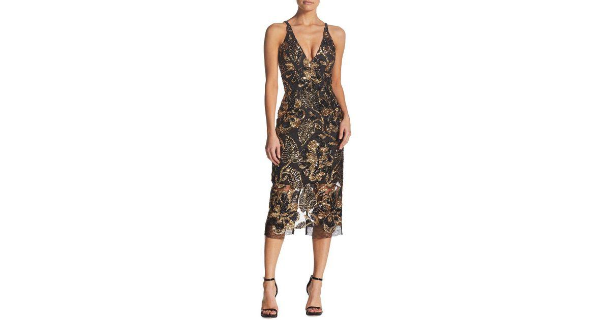 7959f52c Dress the Population Margo Floral Sequin Mesh Dress in Black - Lyst