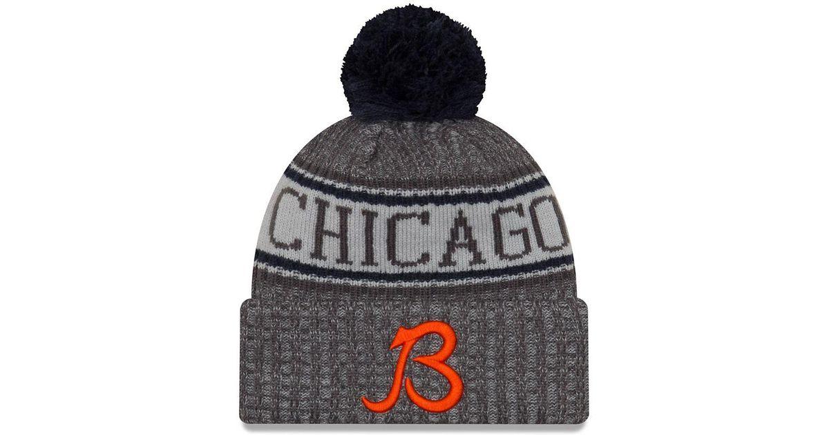 6a4ec02d KTZ Orange Nfl Sideline Chicago Bears Cold Weather Sport Knit Hat for men