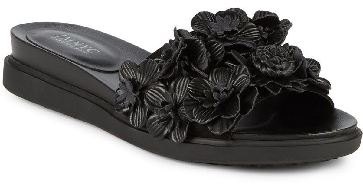 lyst isaac mizrahi new york tina floral slides in black